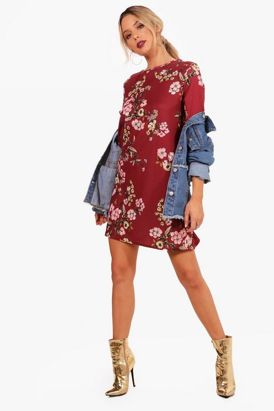 Floral 3/4 Sleeve Shift Dress