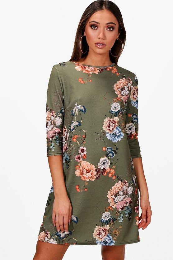 Dianna Floral 3/4 Sleeve Shift Dress