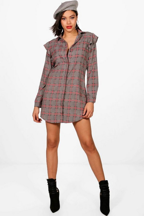 Check Ruffle Shirt Dress