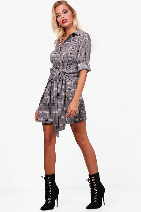 Prince Of Wales Check Tie Front Shirt Dress