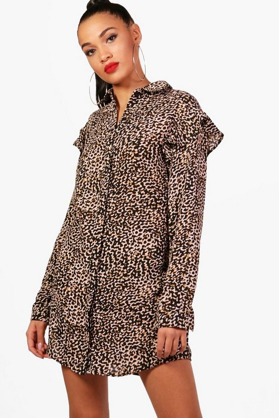Leopard Print Ruffle Shirt Dress
