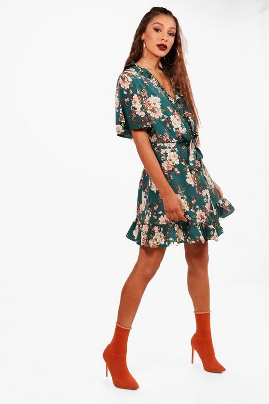 Ruffle Wrap Floral Print Tea Dress