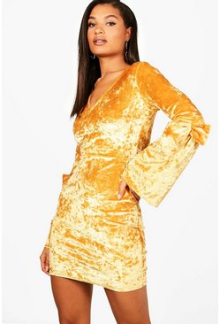 Womens Mustard Crushed Velvet Bow Sleeve Bodycon Dress