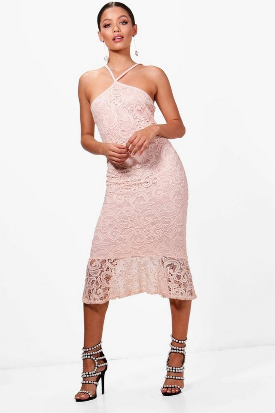 Lace Plunge Front Fluted Hem Midi Dress
