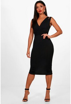 Womens Seam Detail V Neck Bodycon Midi Dress