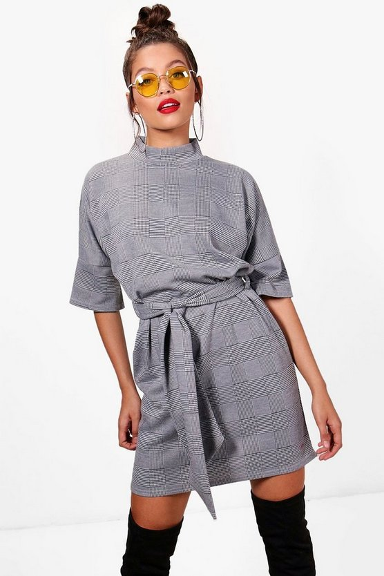Womens Grey High Neck Kimono Sleeve Formal Mini Dress