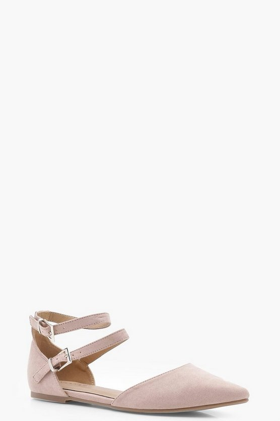Womens Blush Double Strap Pointed Flats