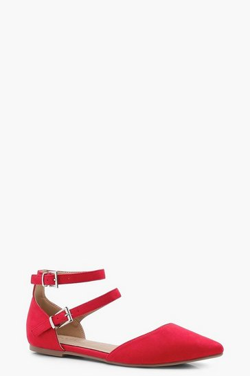 Womens Red Double Strap Pointed Ballets