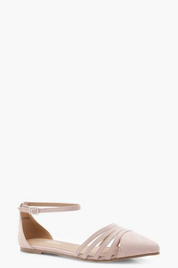 Womens Blush Caged Front Pointed Flats