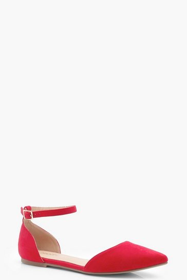 Womens Red Two Part Pointed Flats