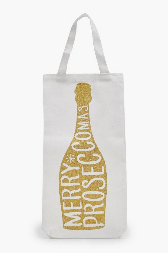 Gold Glitter Merry Proseccomas Bottle Bag