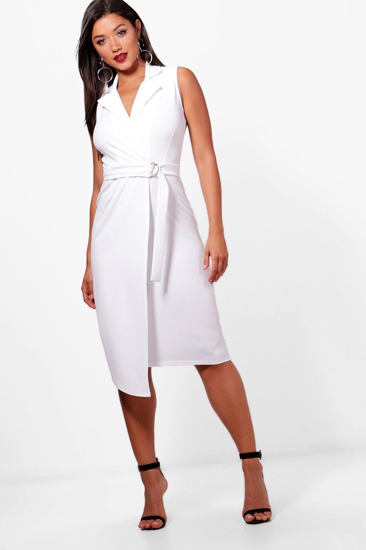 df4dcce1d199fd Sleeveless Belted Blazer Dress