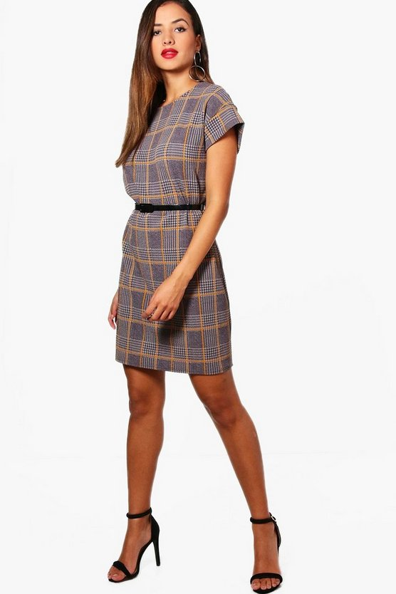 Womens Mustard Belted Check Shift Dress