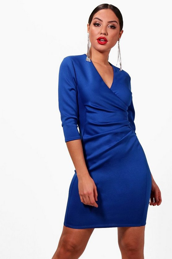 Pleat Detail Wrap Dress