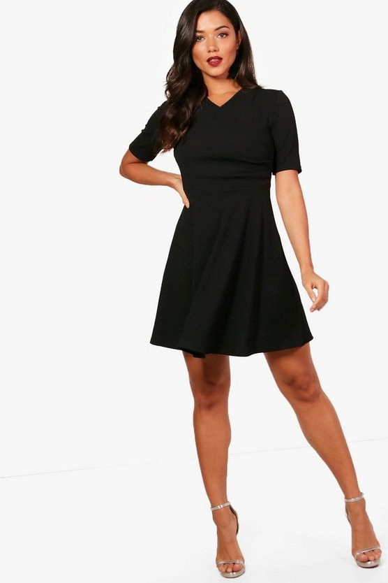 Short Sleeve Wrap Skater Dress
