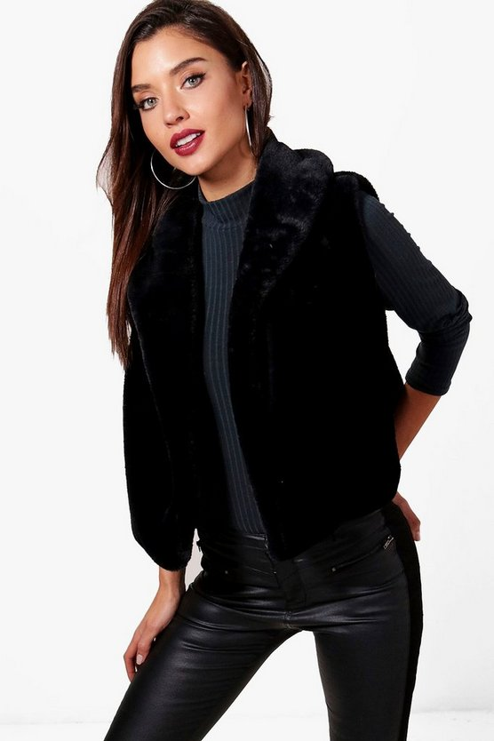 Black Sleeveless Drape Faux Fur Gilet