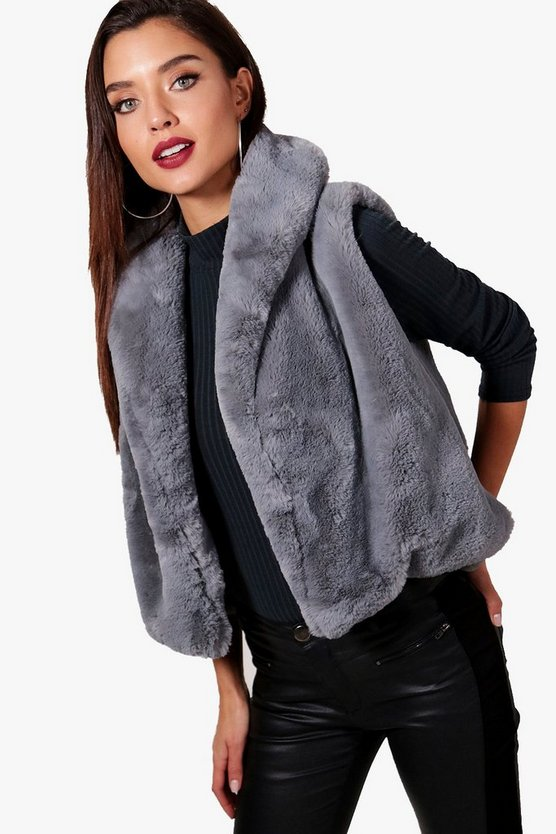 Sleeveless Drape Faux Fur Gilet, Серый, Женские