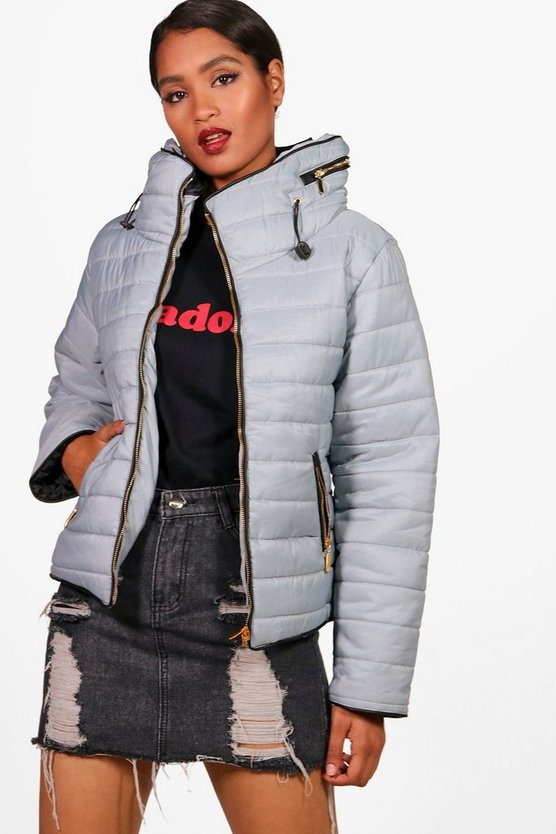 Womens Grey Quilted Jacket