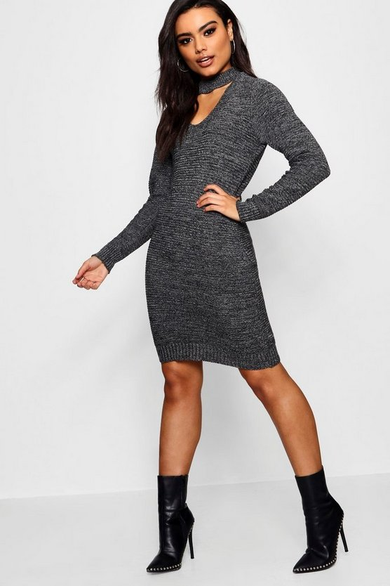 Womens Black Marl Choker Bodycon Knitted Dress