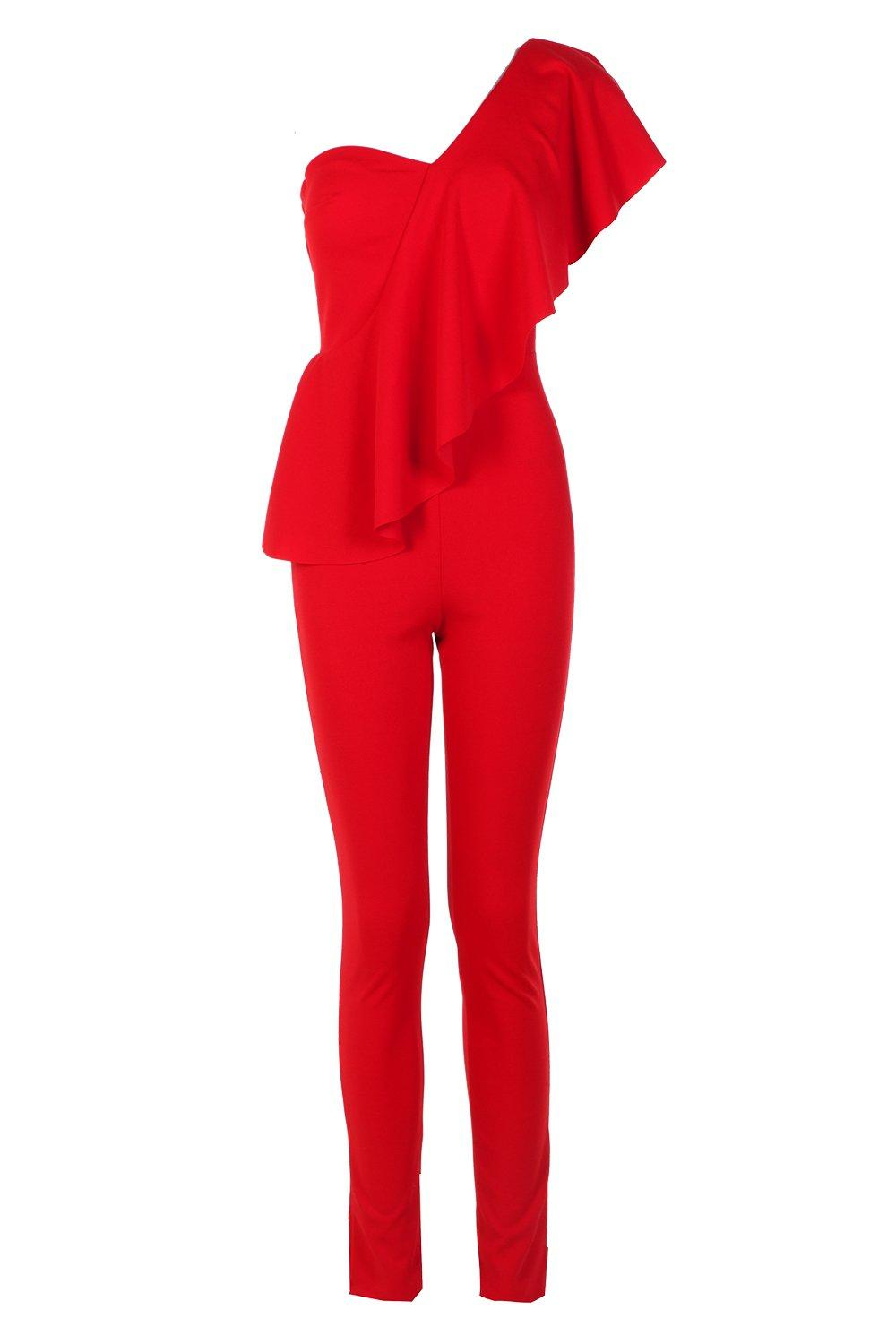 One Jumpsuit Frill Frill Shoulder One red Wr6WqPvnx