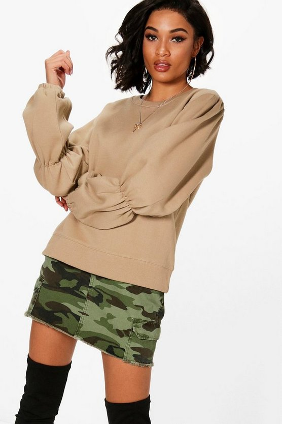 Elasticated Balloon Sleeve Sweatshirt