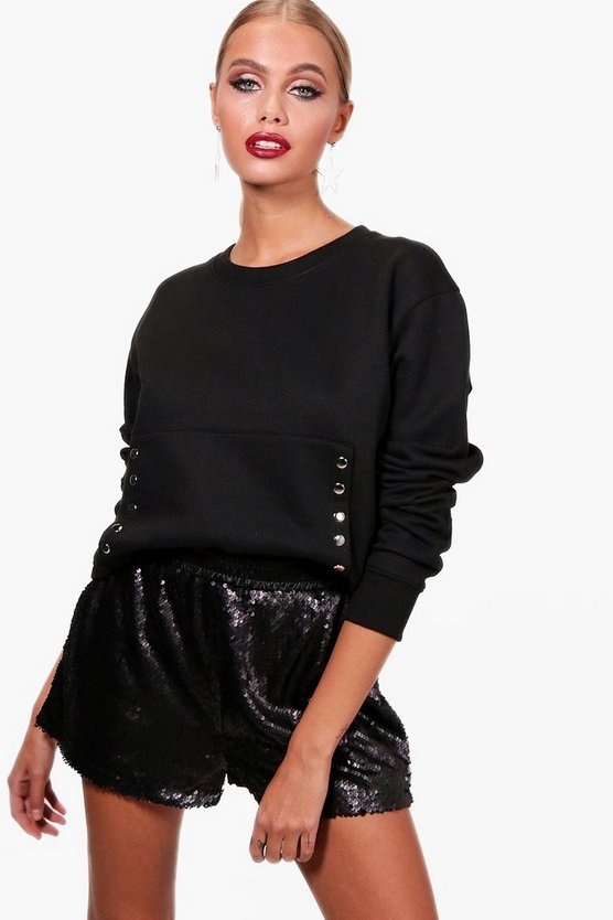 Black Annabel Popper Side Detail Crop Sweat