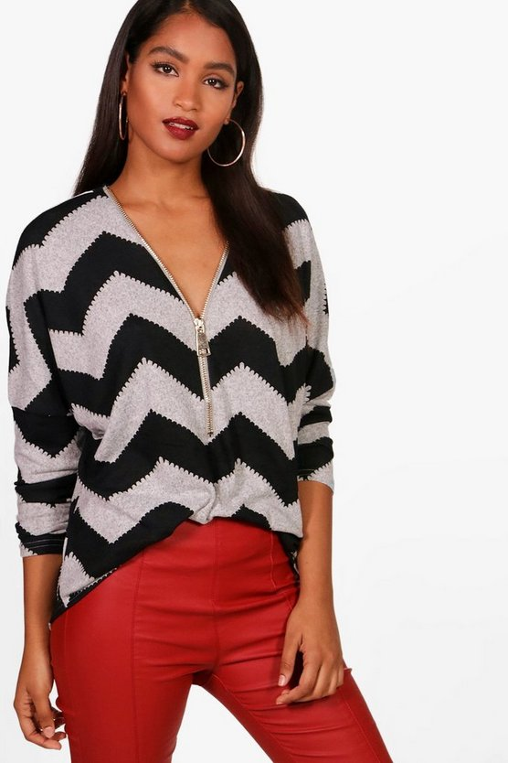 Zig Zag Zip Through Cardigan