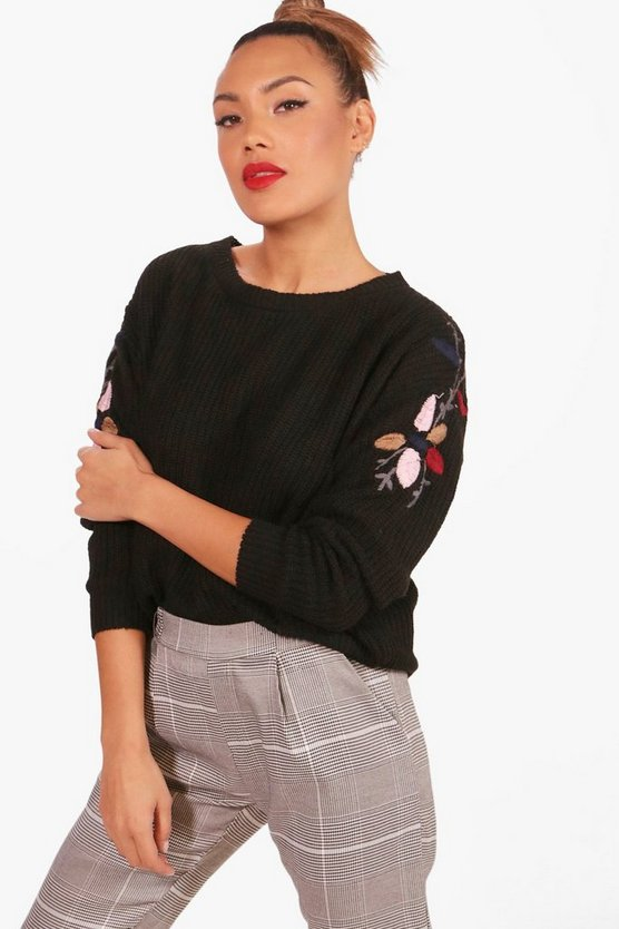 Womens Scallop Trim Embroidery Jumper