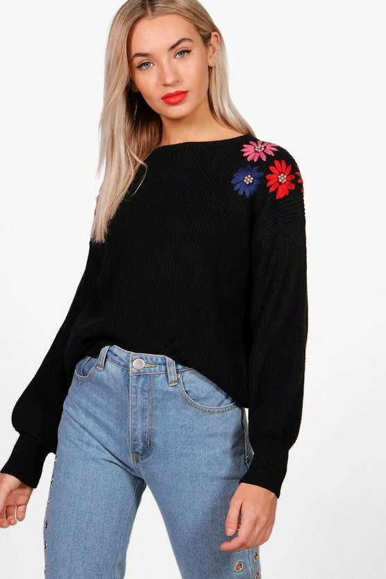 Zoe Floral Bead Embroidery Knit Jumper