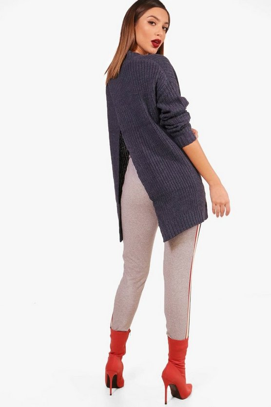 V Neck Split Back Jumper