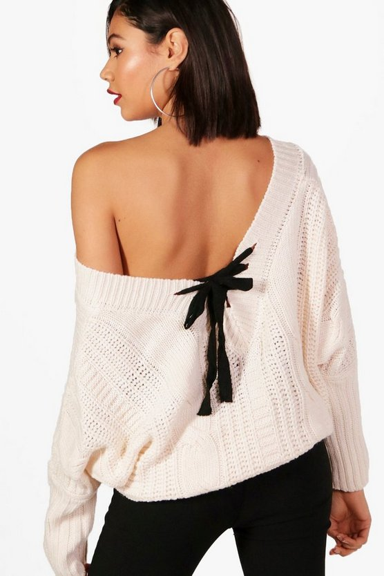 Lucie Cropped Batwing Ribbon Back Jumper