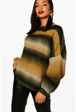 Womens Forest Fluffy Knit Stripe Oversized Jumper