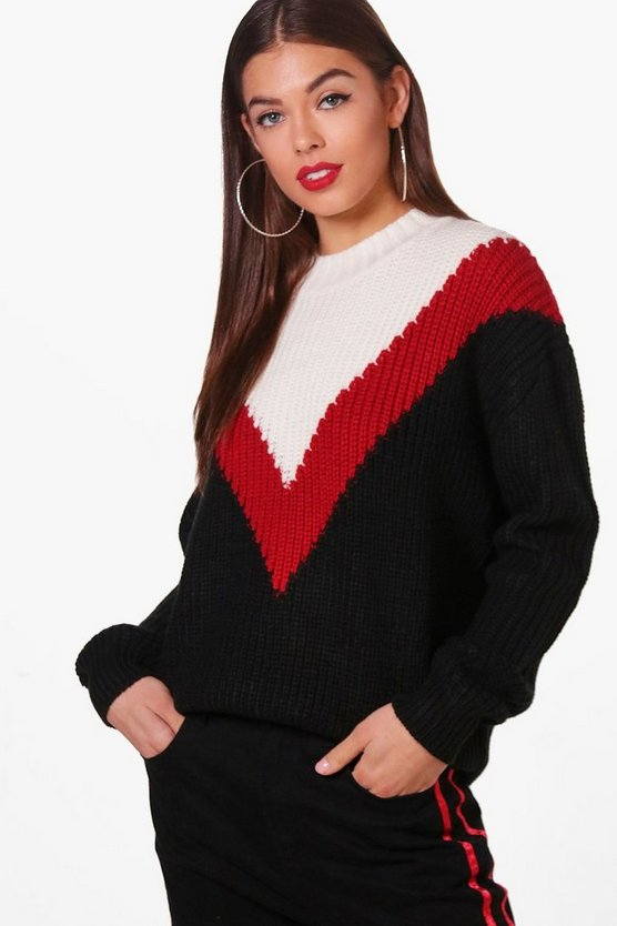 Jade Colour Block Chevron Front Jumper