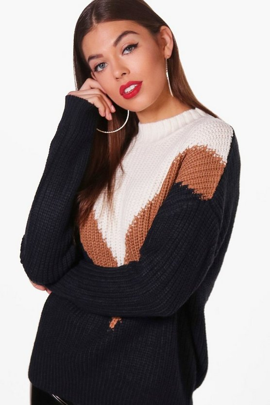 Womens Navy Kate Colour Block Chevron Front Jumper