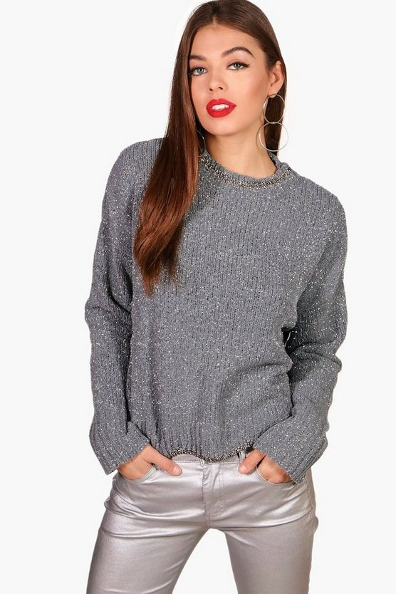 Metallic Chenille Scallop Hem Jumper