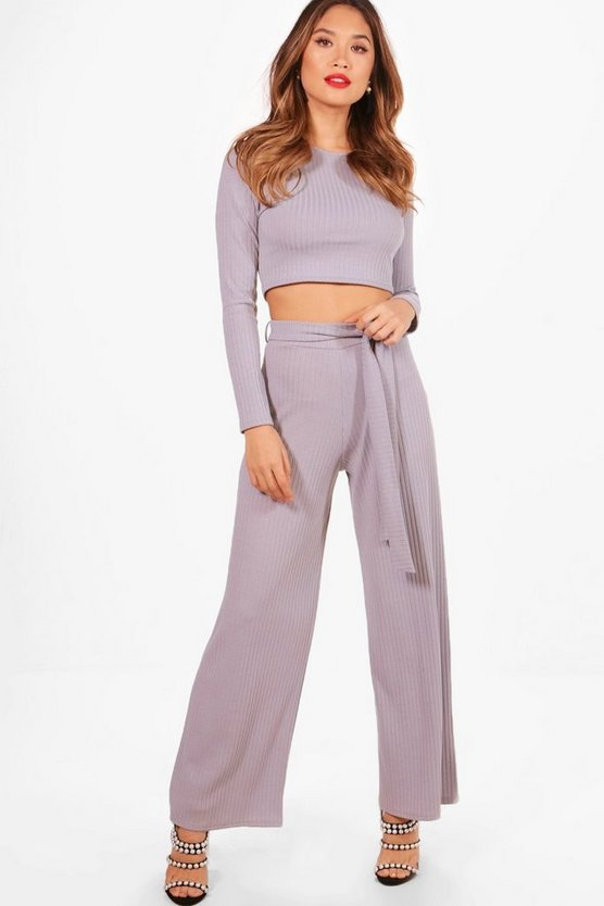 Crop Top And Tie Waist Wide Leg Knitted Set
