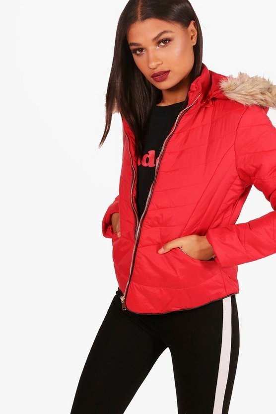 Fitted Padded Jacket With Faux Fur Hood