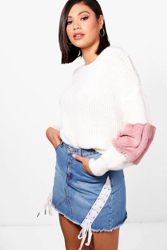 Faux Fur Trim Jumper