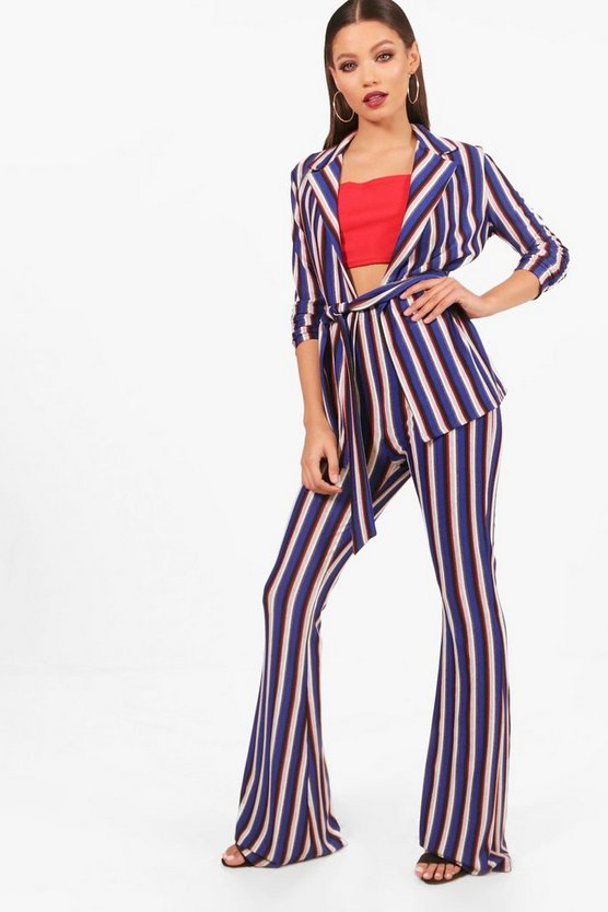 Sammy Striped Blazer and Flared Trouser Set