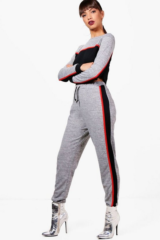 Colour Block Sport Knitted Lounge Set