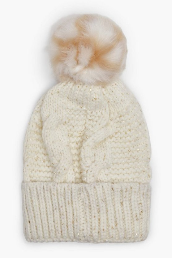 Georgia Cable Knit Pom Beanie