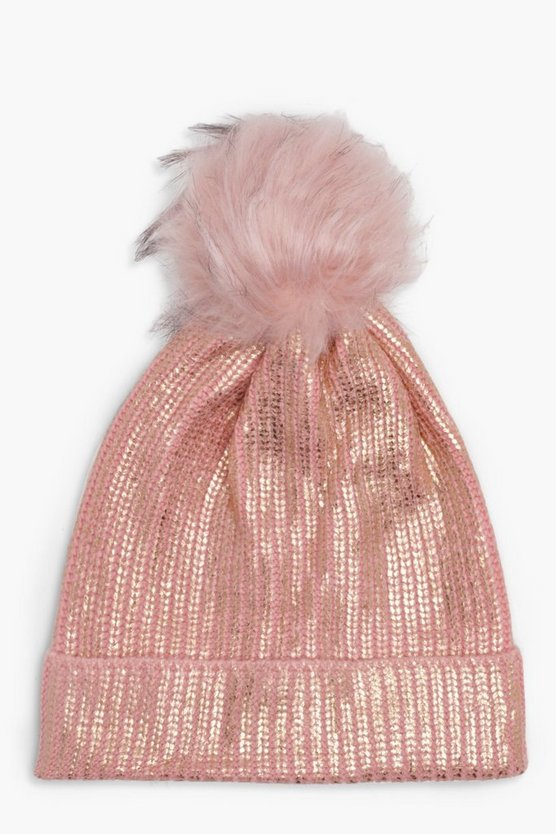 Laura Metallic-Beanie mit Folienprint, Rosa, Damen