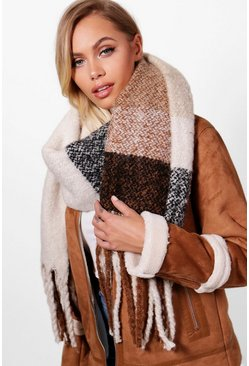 Womens Natural Blanket Tassel Scarf