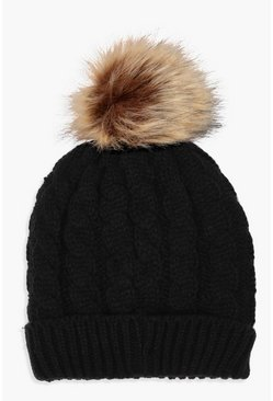 Womens Black Cable Knit Faux Fur Pom Beanie