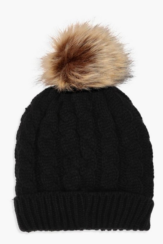 Womens Cable Knit Faux Fur Pom Beanie
