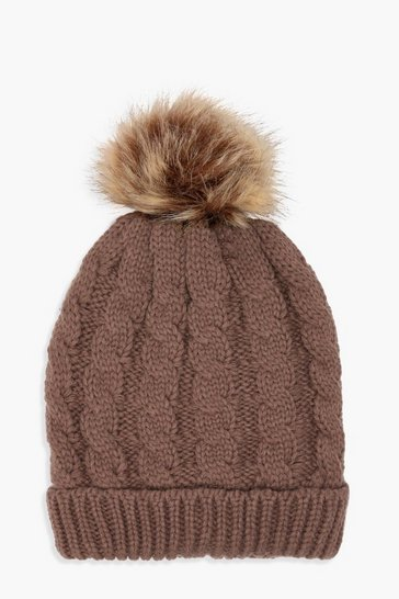 Womens Brown Cable Knit Faux Fur Pom Beanie
