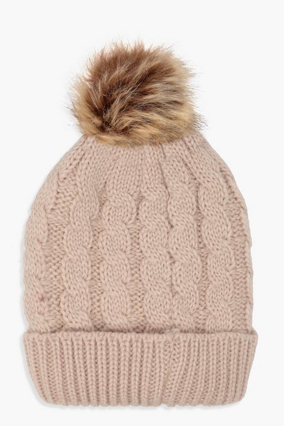Womens Cream Cable Knit Faux Fur Pom Beanie