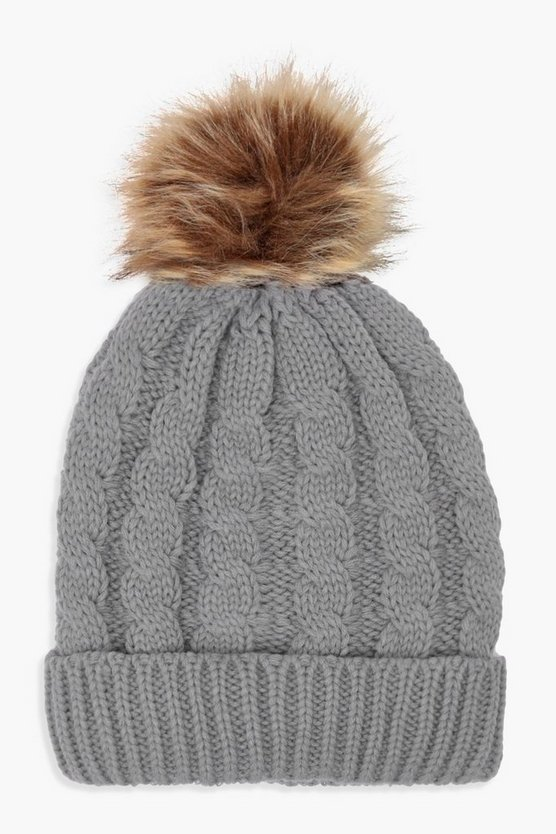 Womens Grey Cable Knit Faux Fur Beanie