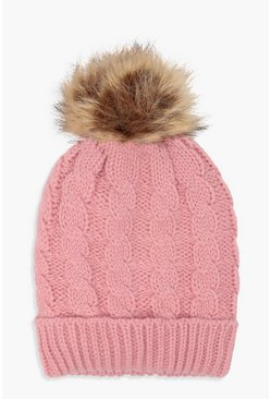 Pink Cable Knit Faux Fur Beanie