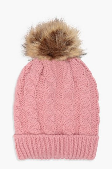 Womens Pink Cable Knit Faux Fur Beanie